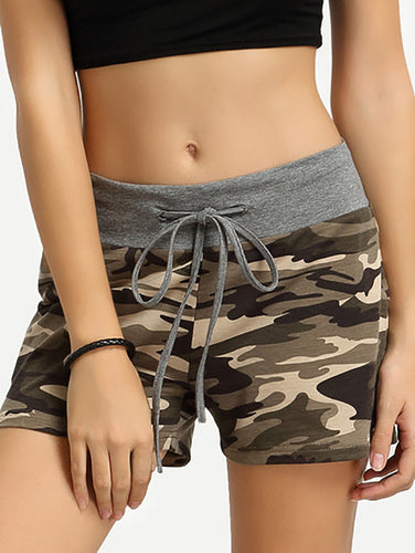 Camouflage Print Tether Shorts
