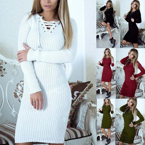 V Neck Lace Up Long Sleeve Fitting Knitting Bodycon Dress