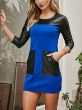 Round Neck PU Stitching Long Sleeve Dress