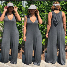 Solid Color Round Neck Sleeveless Loose Hooded Jumpsuit