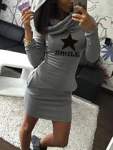 Solid Color Long Sleeve Five-Pointed Star Print Hooded Dress