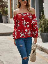 One Shoulder Flower Print T-Shirt