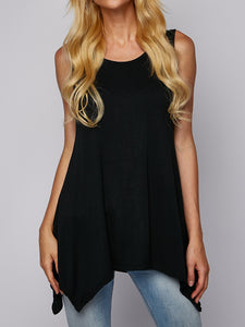Round Neck Irregular Sleeveless Vest T-Shirt