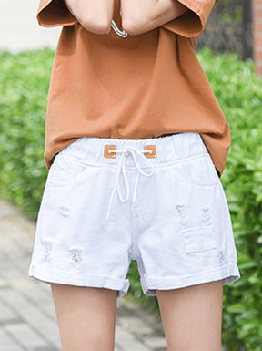Solid Color Hole Tether Shorts