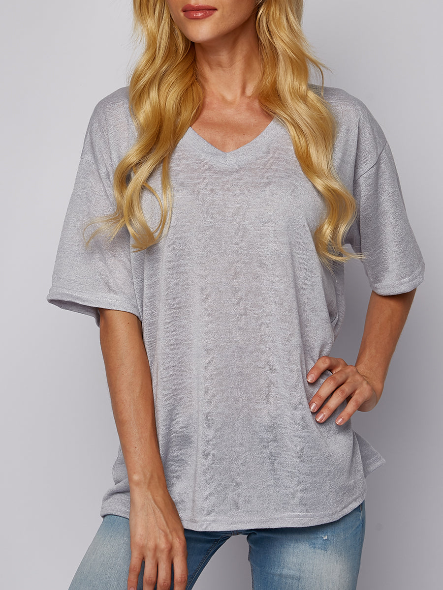 Loose Large Size Solid Color V-Neck Short-Sleeved Casual T-Shirt