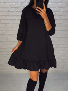 Solid Color Round Neck Pleated Hem Dress