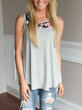 Loose Crew Neck Print Stitching Sleeveless Vest T-Shirt