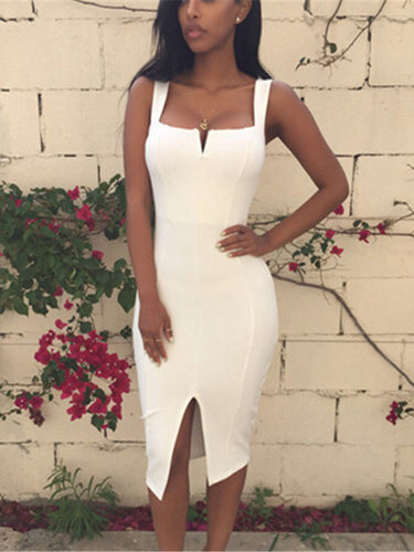 Solid Color Sling Tight-Fitting Slit Long Dress