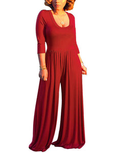 Solid Color Round Neck Sleeves Jumpsuit