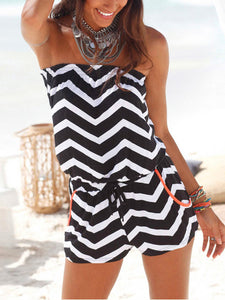 Striped Print Tube Top Jumpsuit