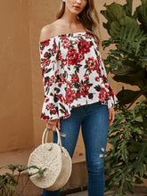 One Shoulder Flower Print Long Sleeve T-Shirt