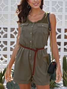 Solid Color Stitching Sleeveless Belts Jumpsuit