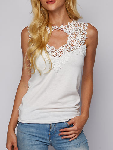 Lace Stitching Solid Color T-Shirt