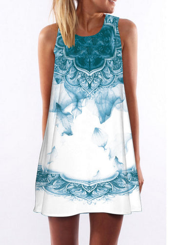 Digital Print Sleeveless Loose Casual Dress