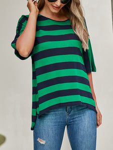Round Neck Striped Print T-Shirt