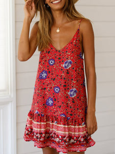 Sling V-Neck Ruffled Casual Dress