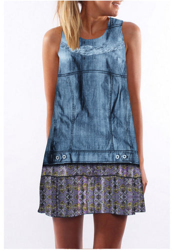 Digital Print Sleeveless Casual Dress