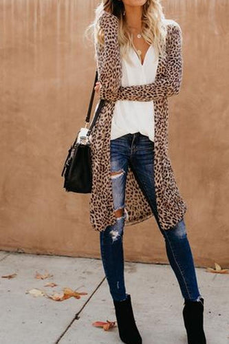 Collarless  Leopard Print Outerwear Cardigans