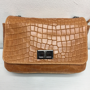 Leather Full Croc Print Bag
