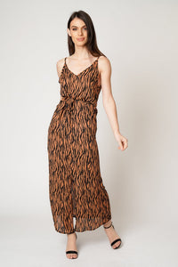 Zebra Printed Strappy Maxi Dress