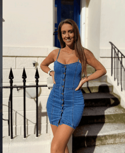 Denim Button Up Bodycon Mini Dress
