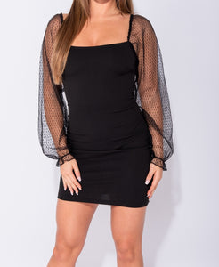 Dobby Mesh Sheer Sleeve Bodycon Mini Dress