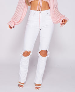 Knee Rip Straight Leg High Waist Jeans