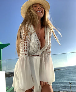 White Flare Sleeve Summer Dress