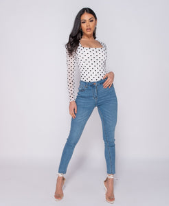 Polka Dot Mesh Square Neck Bodysuit