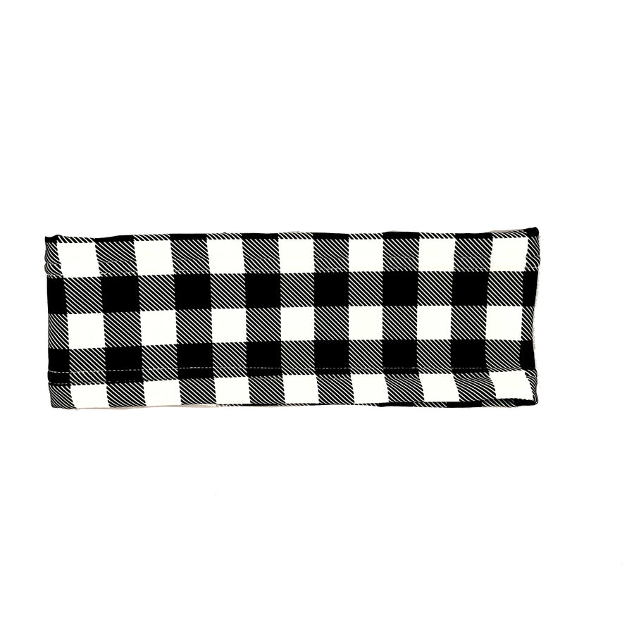 Black and White Buffalo Plaid Fleece Headband