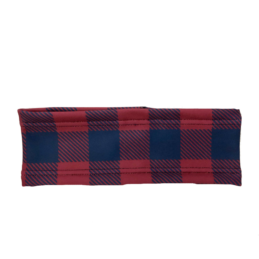 Maroon and Navy Buffalo Plaid Fleece Headband