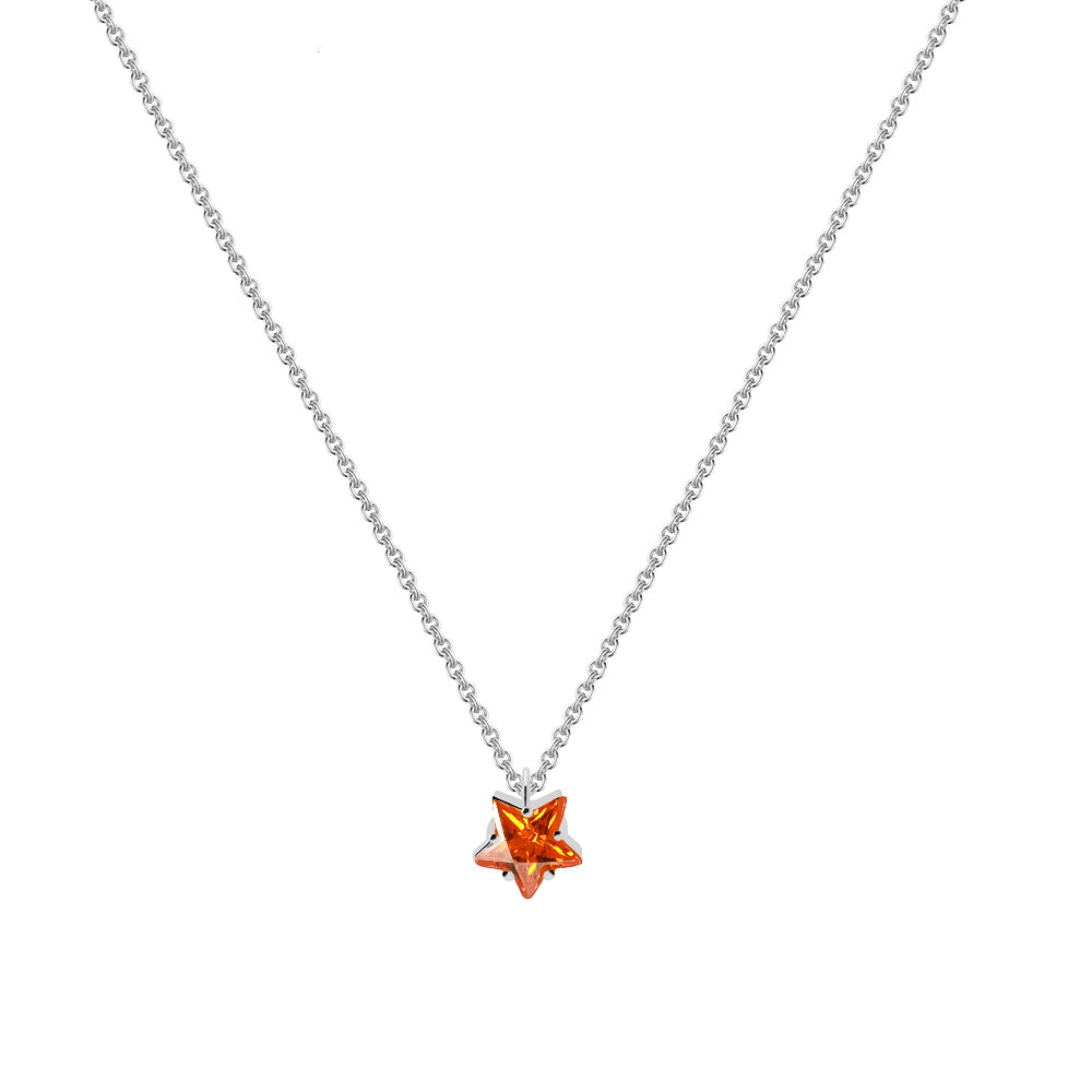 Collar Dafne Orange Silver