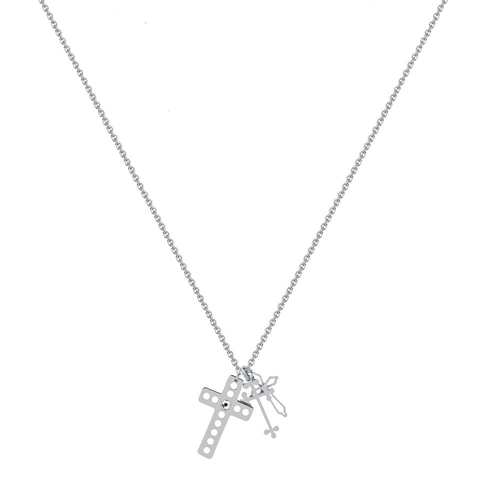 Collar Mix Cross Silver