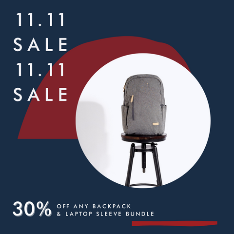 agva 11.11 incredible sale 2020 - get 30% off when you buy a backpack + laptop sleeve