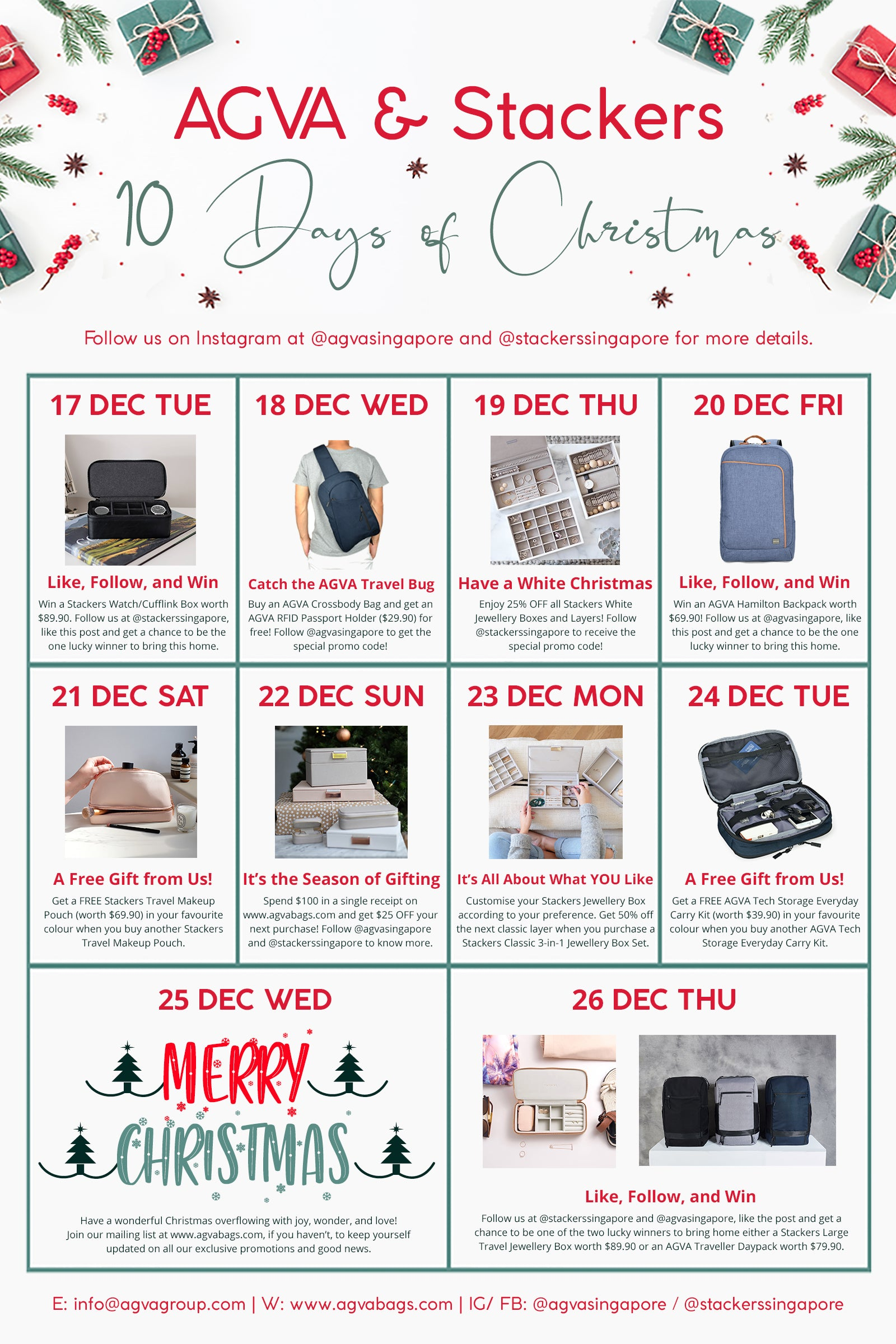 This is AGVA and Stackers 10 days of Christmas Promotions! Enjoy wonderful and attractive discounts as you shop during this festive period!