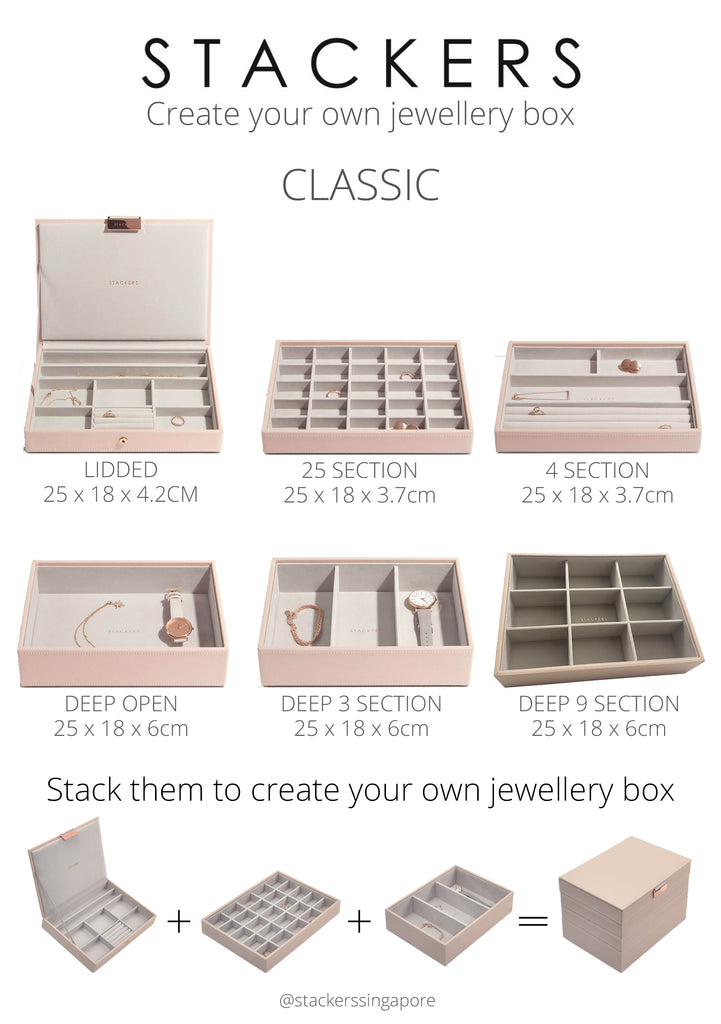 customise your own stackers jewellery box by mixing and matching the different jewellery layers according to your needs. we have 6 different layers for you to choose from