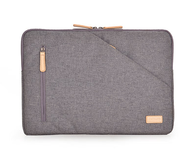 urban denim laptop sleeve with water-resistant fabric and 2 exterior zip pockets for organization