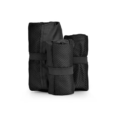 AGVA 3-in-1 black travel set is a space saving travel pouch, each travel bag can be rolled away and tied with the elastic strap when not in use