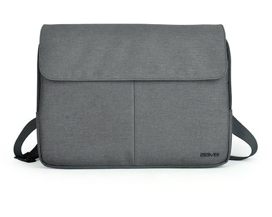 Convertible between a Laptop Sleeve & Messenger Bag. A hybrid design that combines the elements of a sleeve and a briefcase, this bag has 3 separate zipped compartments for your laptop and accessories. In one of the compartments, there is an internal organisational grid for securing your tech gadgets and accessories. The adjustable shoulder strap can be removed at the back for use as a carry sleeve.