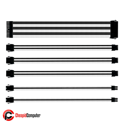 Cables Cooler Master Sleeved Extension Cable Kit - White & Black (CMA-SEST16WTBK1-GL)