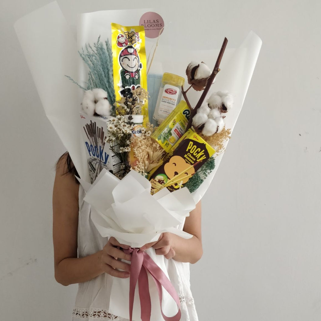 Covid-19 We Care Snack Bouquet. Mask  Hand Sanitizer  Bouquet