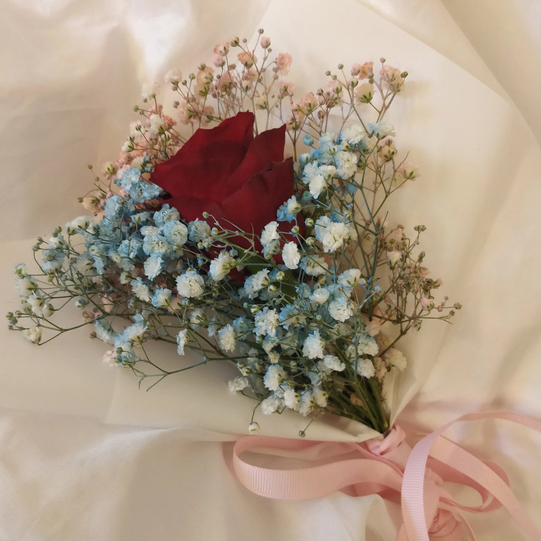 Single Stalk Rose with Baby Breath