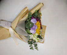 Load image into Gallery viewer, message card  on the flip side for the sunflower bouquet , comes with carecard