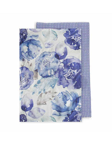 Bloom Blue Tea Towel - Pack of 2