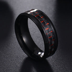 Titanium Steel Black Carbon Fiber Mens Cool Rings Fashion Red Blue Ring