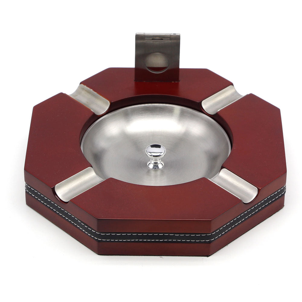 Red Octagon Removable Stainless Steel Cigar Ashtray Can Holder 4 Cigar With Cigar Cutter