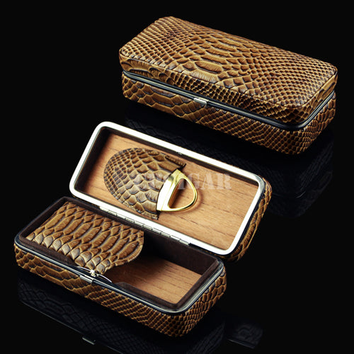 Portable Leather Travel Cedar Wood Cigarette Cigar Humidor Case for 3 Cigars Set with Cigar Cutter or Lighter