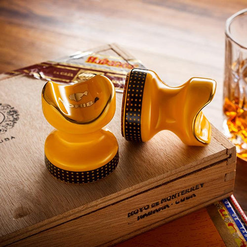 Mini Yellow / black High Quality colored drawing Showing Portable Cigar Ashtray Holder Cigar holder