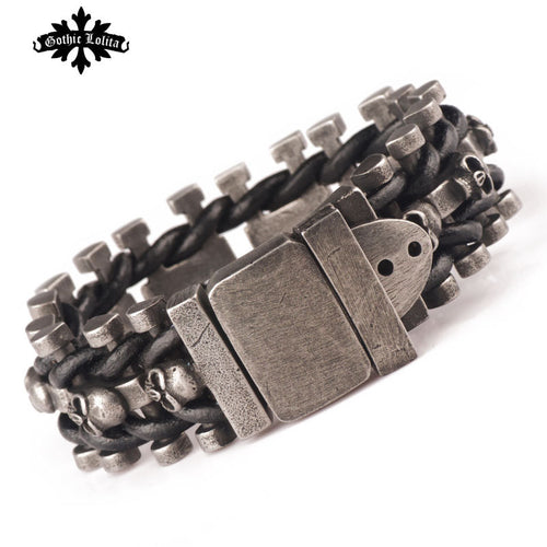 Wide Skull Skeleton Stainless Steel Cuff Loom Leather Belt Buckle Bracelet