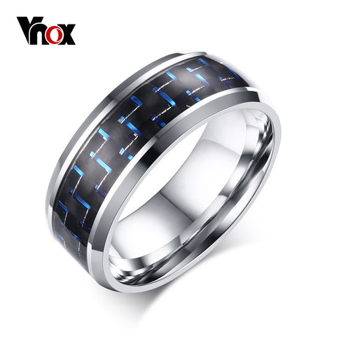Blue & Red Color Carbon Fiber Stainless Steel Rings for Men